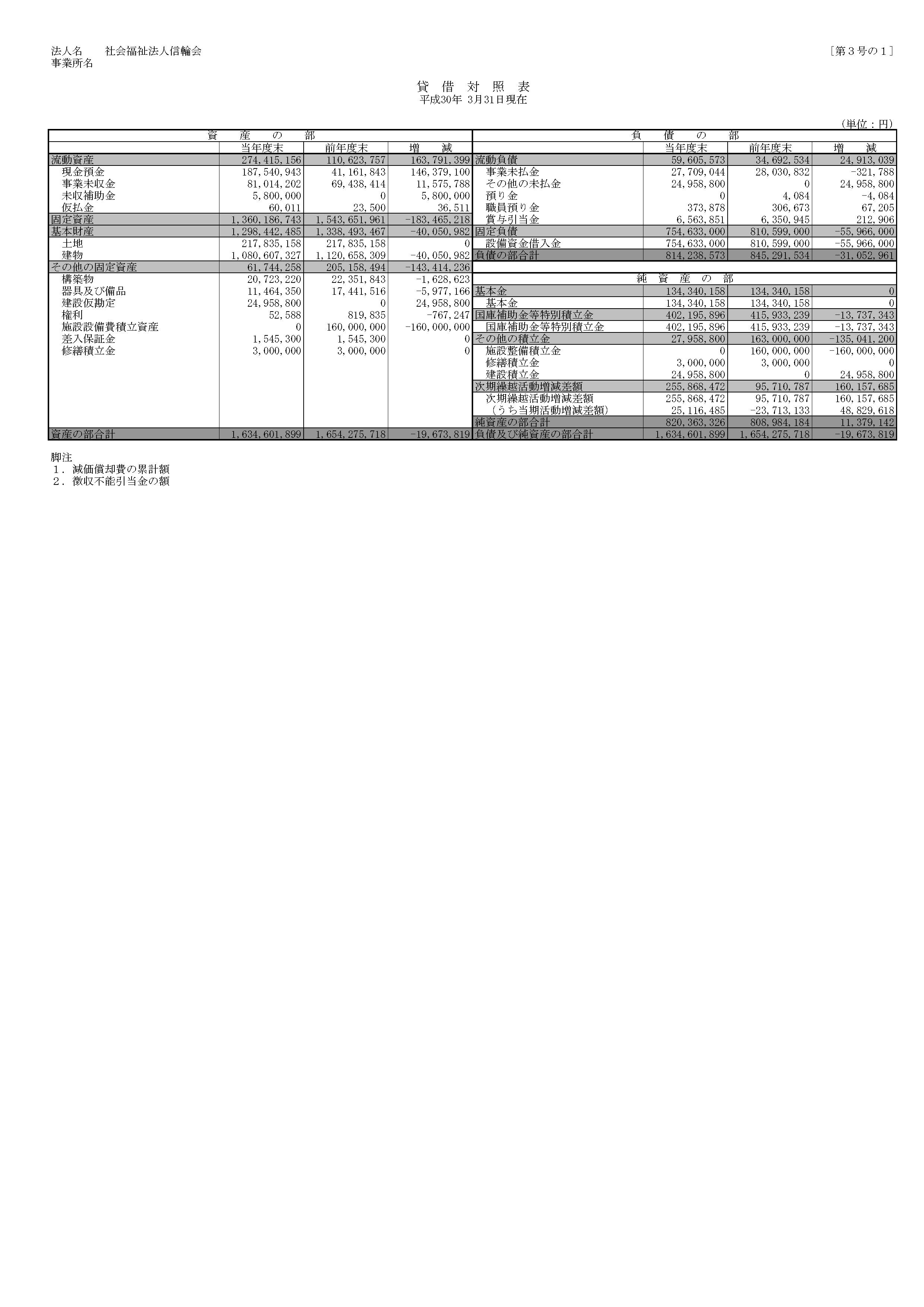 貸借対照表(平成29年)